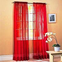 """Solid One Panel Sheer Curtain Window Drape 54"""" x 84"""" Red"""