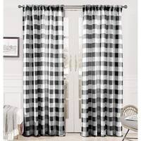 DriftAway Checker Pattern Room Darkening Window Curtain Panel Pair