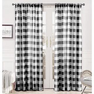 DriftAway Checker Pattern Room Darkening Window Curtain Panel Pair