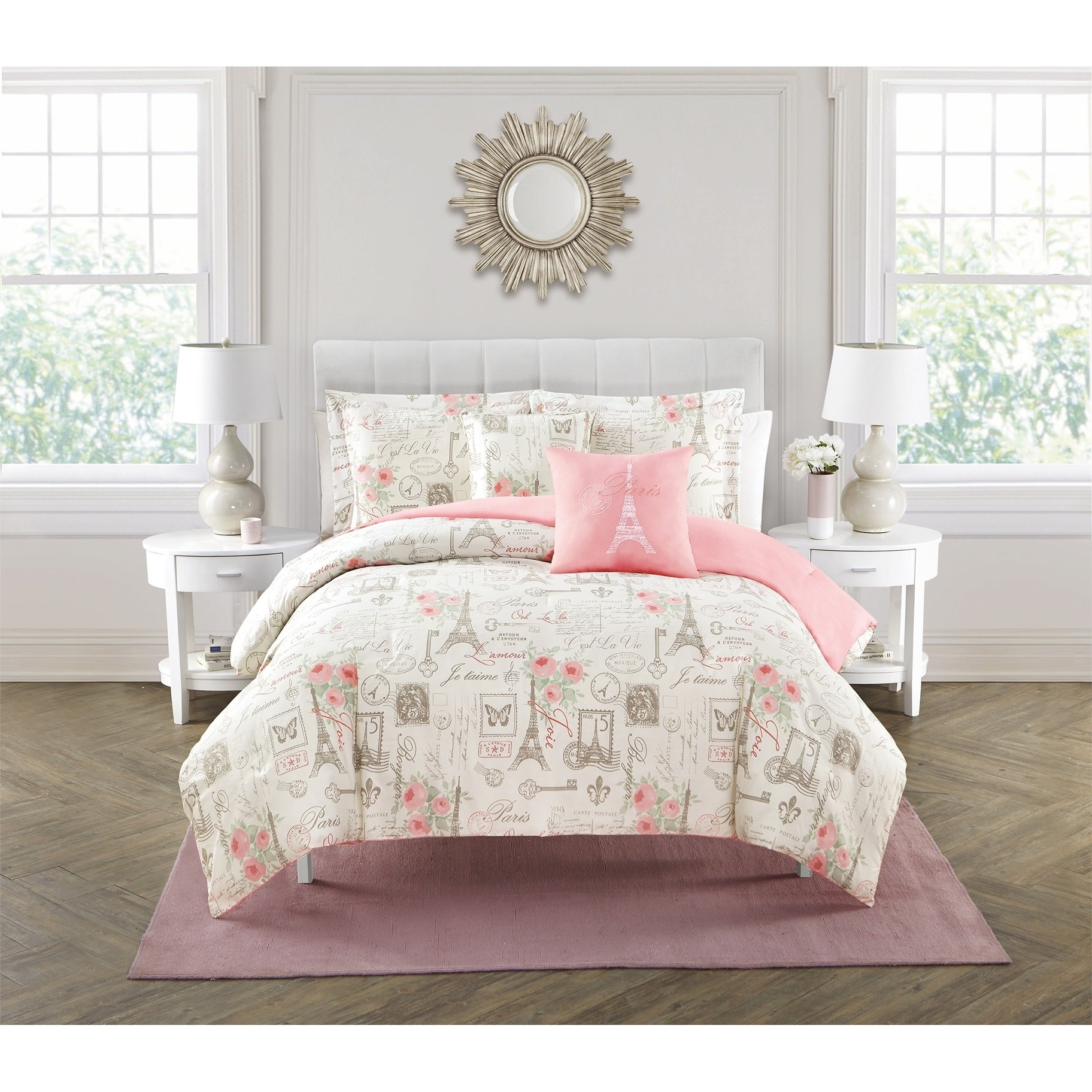 City Of Romance Pink Paris Themed 5 Piece Reversible Comforter Set On Sale Overstock 20704046