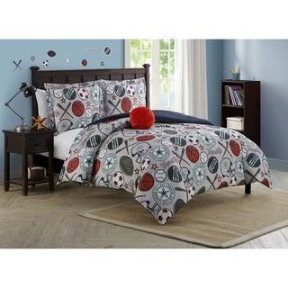 Link to League Sports Gray Collegiate 4-piece Reversible Comforter Set Featuring Wall Decals Similar Items in Kids Quilts & Coverlets