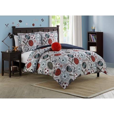 League Sports Gray Collegiate 4-piece Reversible Comforter Set Featuring Wall Decals