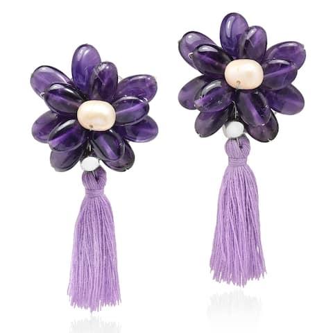 Handmade Amazing Purple Amethyst & Pearl Flower Tassel Earrings