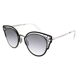 Jimmy Choo Cat-Eye JC Dhelia 284 Women Black Ruthenium Frame Silver Mirror Lens Sunglasses