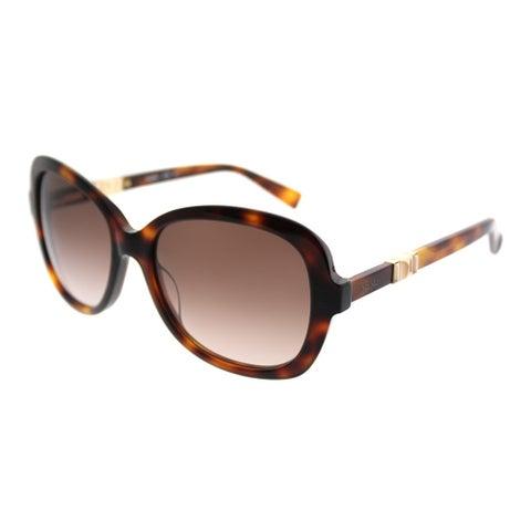 MaxMara Square MM Jewel/S BHZ JD Women Havana Rose Gold Frame Brown Gradient Lens Sunglasses