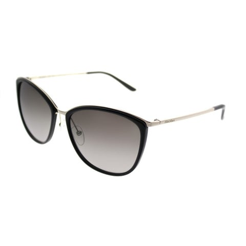 MaxMara Square MM Classy I/S NO1 HA Women Light Gold Black Frame Brown Gradient Lens Sunglasses