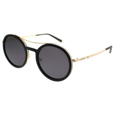 MaxMara Round MM Oblo'/S V28 Y1 Women Matte Black Gold Frame Grey Lens Sunglasses