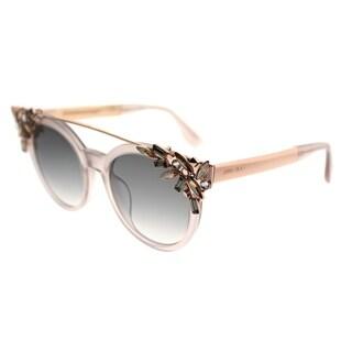 Jimmy Choo Round JC Vivy PR5 Women Pink Frame Silver Mirror Lens Sunglasses