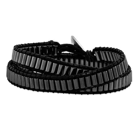 Hematite Beaded and Leather Multi-wrap Bracelet by Versil