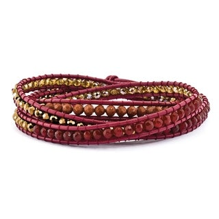 Versil Crystal/Red Quartz/ Red Sand Stone & Leather Multi-wrap Bracelet