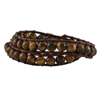 Versil 6mm Brown Beads & Leather Cord Multi Wrap Bracelet