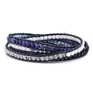Versil Blue Agate/Crystal/Sodalite & Leather Multi-wrap Bracelet