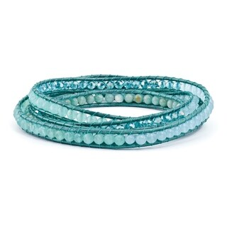 Versil Amazonite & Crystal & Blue Quartz & Leather Multi-wrap Bracelet
