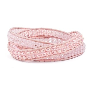 Versil Pink Leather Rose Quartz Beaded Multi Wrap Brass Button Bracelet - Red
