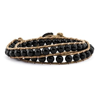 Versil 6mm Onyx Beads Leather Cord Multi Wrap Bracelet - Black