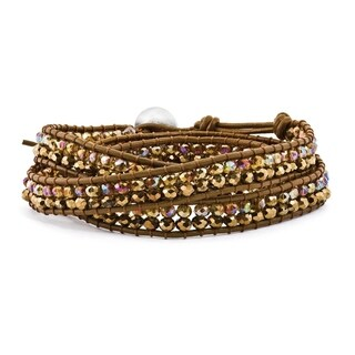 Versil Multi Brown Crystal Bead and Leather Multi-wrap Bracelet