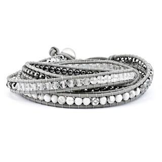 Versil Crystal/Hematite/White Howlite Bead Leather Multi-wrap Bracelet