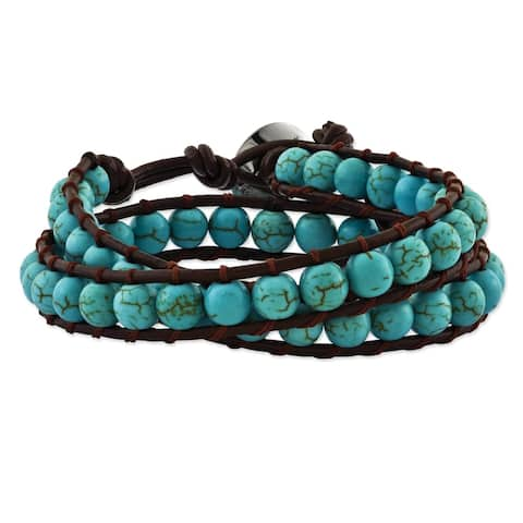 6mm Dyed Turquoise Leather Cord Multi Wrap Bracelet by Versil - Blue