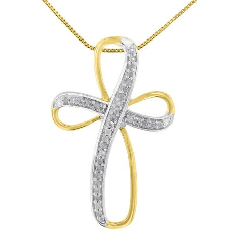 Two Tone Sterling Silver 0.1ct TDW Diamond Cross Pendant Necklace (H-I,I3)