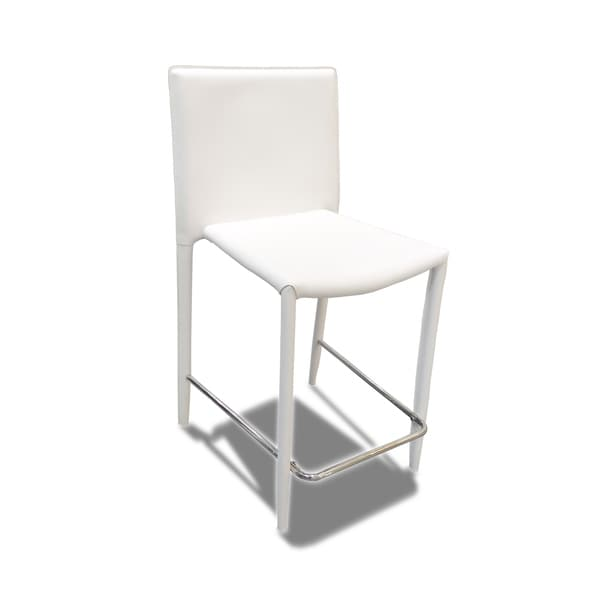 Global Furniture Contemporary High Back White Barstool With Metal Foot Support Free Shipping Today 20707656