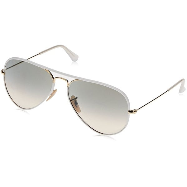 0cb2454de Ray-Ban RB3025JM Aviator Full Color White/Gold Frame Light Grey Gradient  55mm Lens
