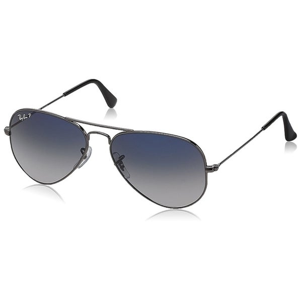 5ca1474399e Ray-Ban RB3025 Aviator Gunmetal Frame Polarized Blue Grey Gradient 55mm Lens  Sunglasses