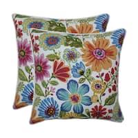 Pillow Perfect Outdoor / Indoor Gregoire Prima Blue 18.5-inch Throw Pillow (Set of 2)
