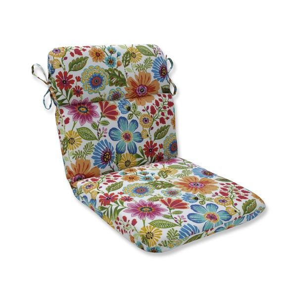 Pillow Perfect Outdoor / Indoor Gregoire Prima Blue Rounded Corners Chair Cushion