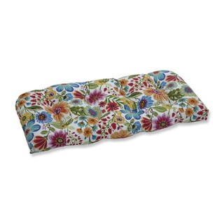 Pillow Perfect Outdoor / Indoor Gregoire Prima Blue Wicker Loveseat Cushion
