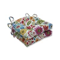 Pillow Perfect Outdoor / Indoor Gregoire Prima Blue Reversible Chair Pad (Set of 2)
