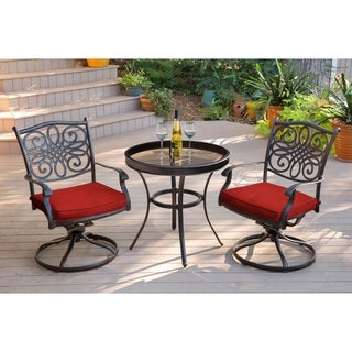 Hanover Traditions 3-Piece Swivel Bistro Set in Red with a 30 in. Glass-top Table