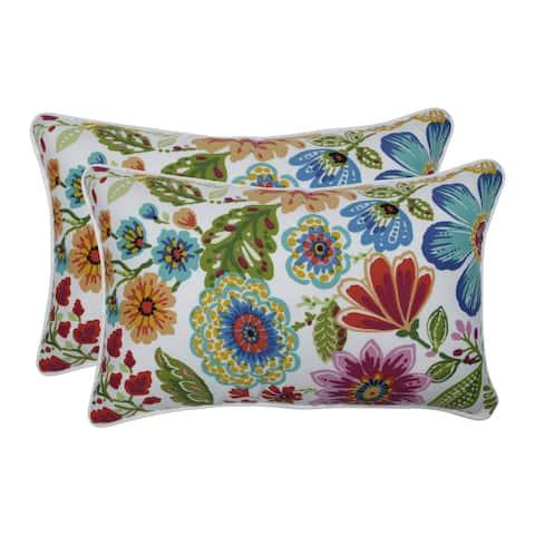 Pillow Perfect Outdoor / Indoor Gregoire Prima Blue Rectangular Throw Pillow (Set of 2)