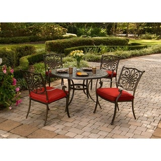 Hanover Traditions 5-Piece Dining Set in Red with 48 In. Cast-top Table and Four Dining Chairs