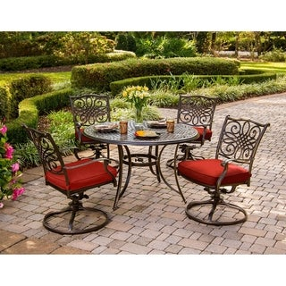 Hanover Traditions 5-Piece Dining Set with Four Swivel Rockers in Red and a 48 In. Cast-top Table