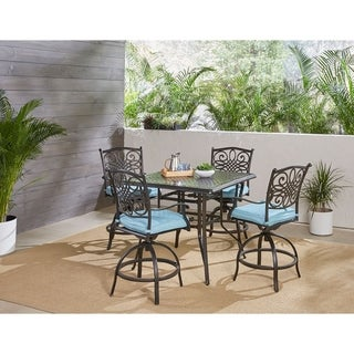 Hanover Traditions 5-Piece High-Dining Set in Blue with a 42 In. Square Cast-top Table