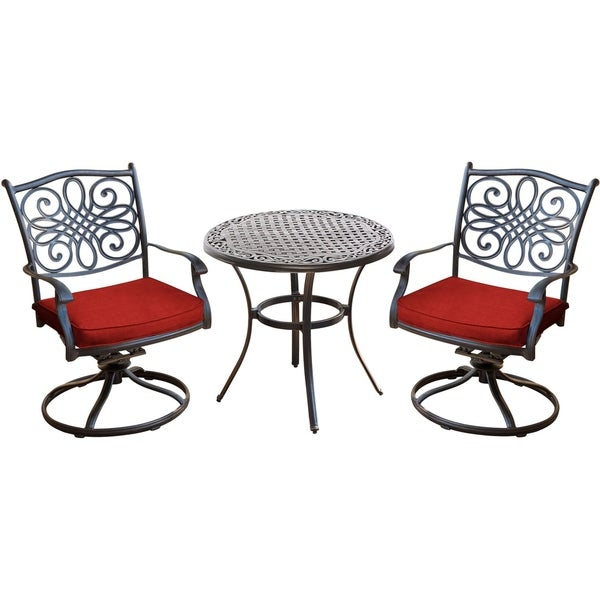shop hanover traditions 3 piece bistro set in red with a 32 in cast