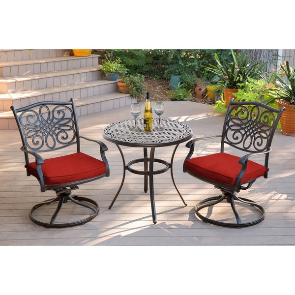 Hanover Traditions 3-Piece Bistro Set in Red with a 32 in. Cast-Top Table