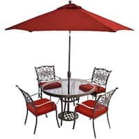 Hanover Traditions 5-Piece Dining Set in Red with 48 In. Glass-top Table, 9 Ft. Table Umbrella, and Umbrella Stand