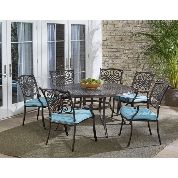 Hanover Traditions 7-Piece Dining Set in Blue with Six Dining Chairs and a 60 In. Cast-top Table