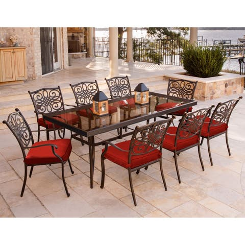 Hanover Traditions 9-Piece Dining Set in Red with an 84 x 41 In. Glass-Top Dining Table