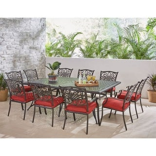 Hanover Traditions 11-Piece Dining Set in Red with Ten Stationary Dining Chairs and an Extra-Long Dining Table