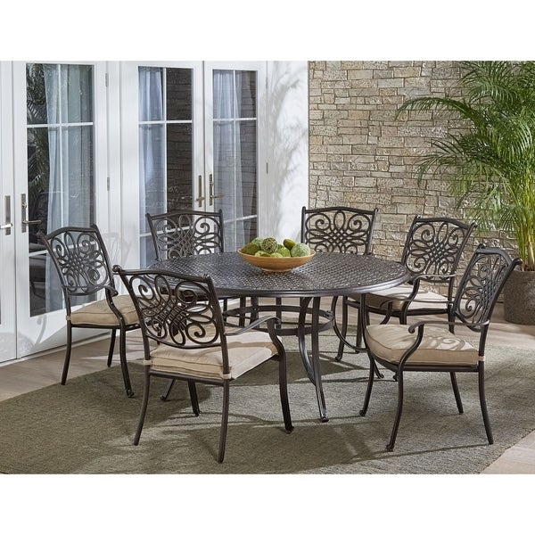 Hanover Traditions 7-Piece Dining Set in Tan with Six Dining Chairs and a 60 In. Cast-top Table