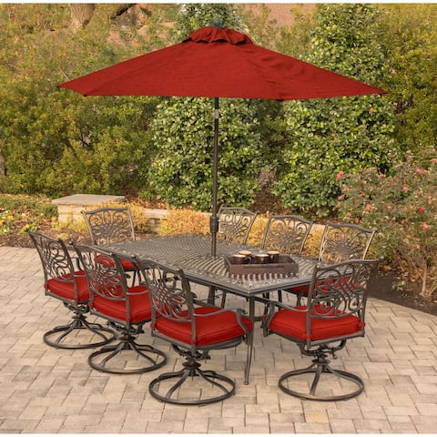 Hanover Traditions 9-Piece Dining Set in Red w/ 8 Swivel Dining Chairs, Table, Umbrella and Stand