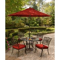 Hanover Traditions 5-Piece Dining Set in Red with 9-Ft. Table Umbrella and Stand