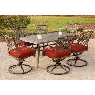 Hanover Traditions 7-Piece Dining Set in Red with 72 x 38 in. Cast-top Table