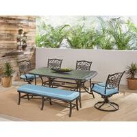 """Hanover Traditions 6-Piece Dining Set in Blue with 4 Swivel Rockers, a Cushioned Bench, and a 38"""" x 72"""" Cast-Top Table"""