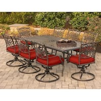 "Hanover Traditions 9-Piece Dining Set in Red with 8 Swivel Rockers and a 84"" x 42"" Cast-top Dining Table"