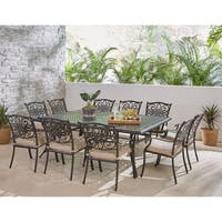 Hanover Traditions 11-Piece Dining Set in Tan with Ten Stationary Dining Chairs and an Extra-Long Dining Table
