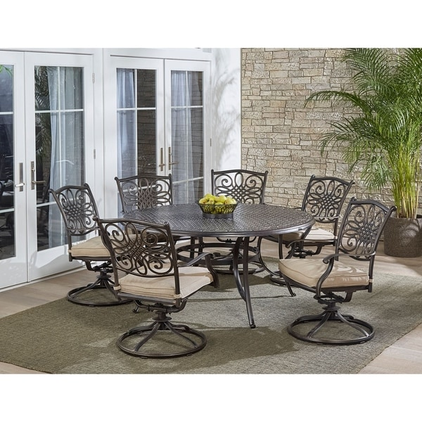 shop hanover traditions 7 piece dining set in tan with a 60 in round cast top table and six. Black Bedroom Furniture Sets. Home Design Ideas