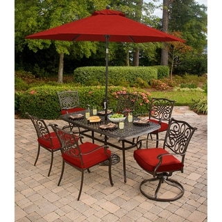 Hanover Traditions 7-Piece Dining Set in Red with a 72 x 38 In. Cast-top Table, 9 Ft. Table Umbrella and Stand